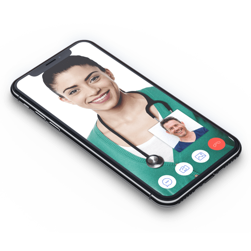 Doctor smiling on device